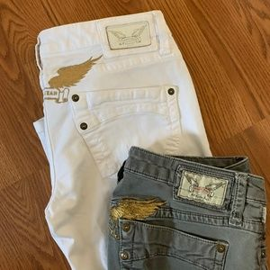 2 Robin's White & Army Angel Wing Demin Jeans